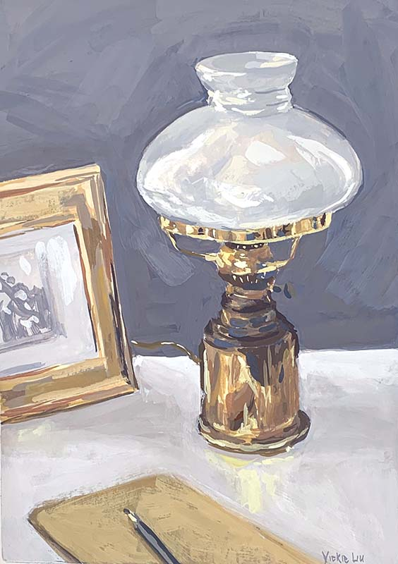 antique brass lamp still life painting