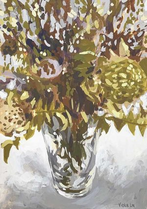 dried native banksia still life painting