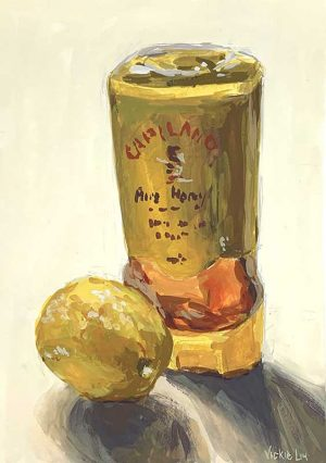 lemon honey still life painting