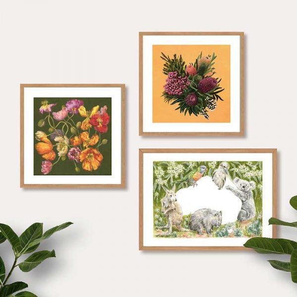 Native Flowers and Animals Print Insitu