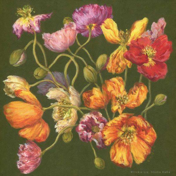 spring poppy art print