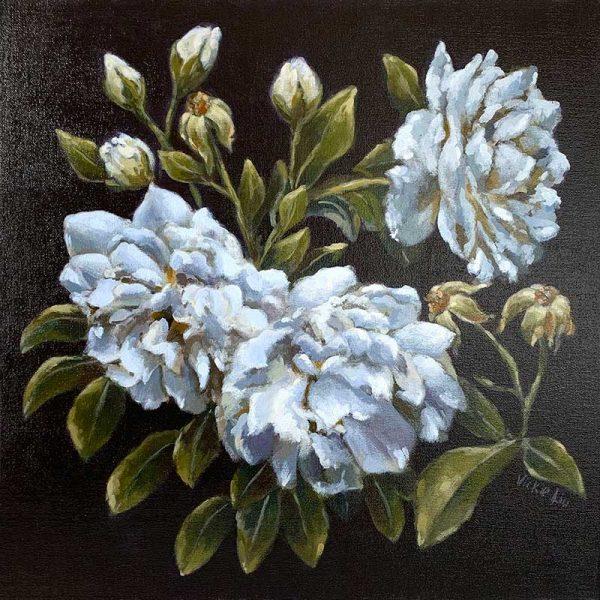 dark blue rose painting
