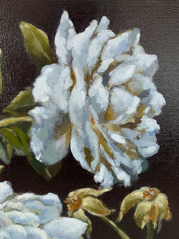 dark blue rose painting detail