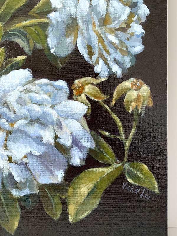 dark blue rose painting signature