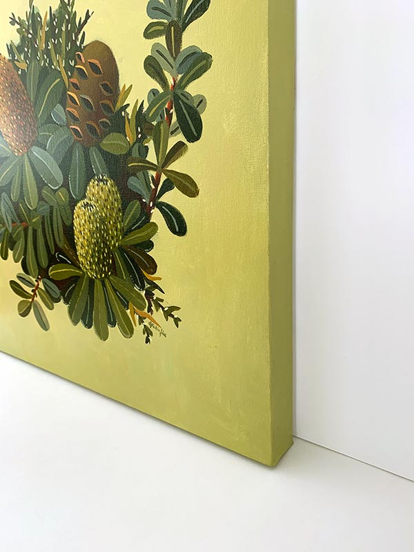 green banksia painting side view