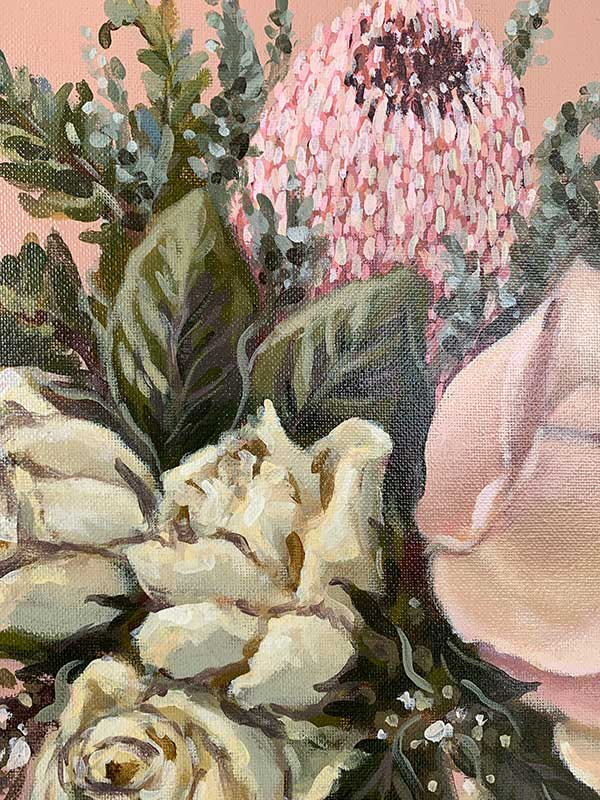 pink protea painting detail