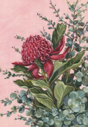 Pink Waratah floral art print