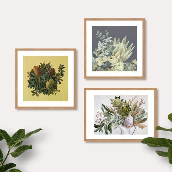 botanical prints grey green palette