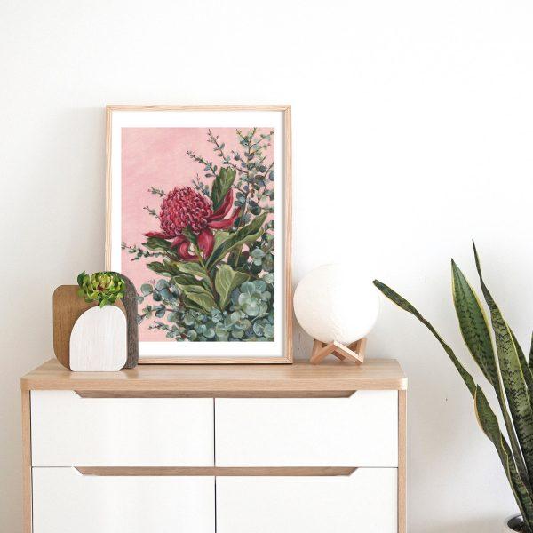 pink waratah native floral print