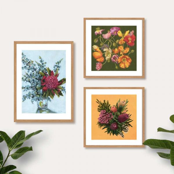Australian Flower Art Print Bright Colours
