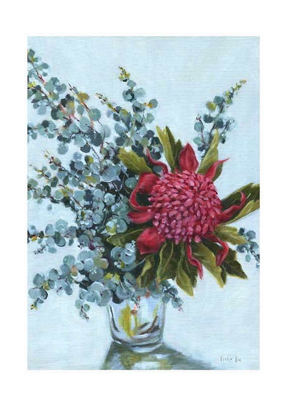 Blue Waratah Art Print