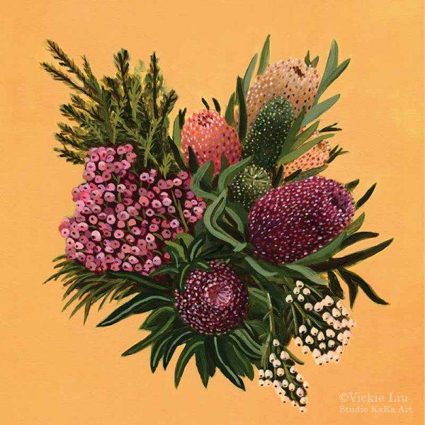 Native Flower Explosion Art Print