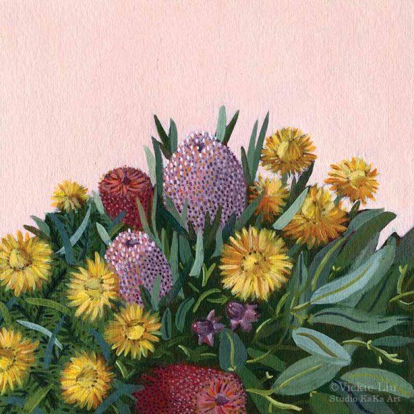 Pink Bouquet Banksia Paper Daisy Print