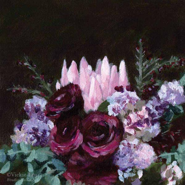 Protea Wedding Bouquet Print