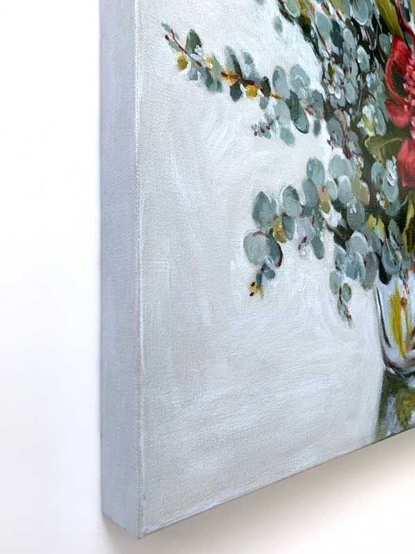 Blue Waratah Original Painting Left Edge