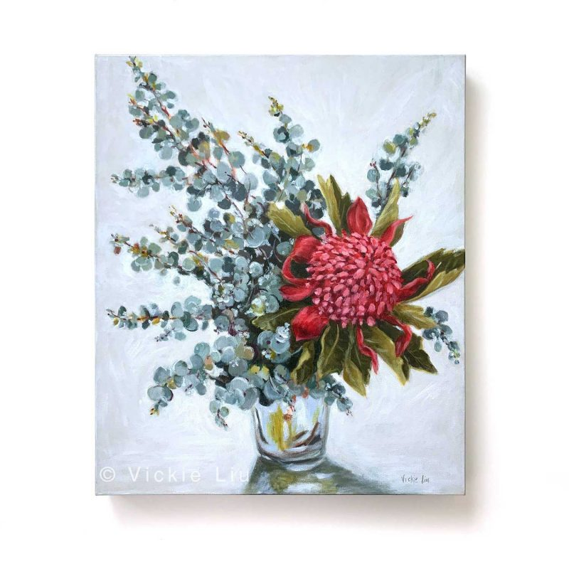 Blue Waratah Original Canvas Painting