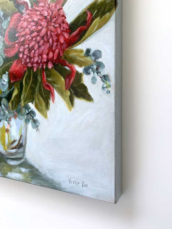 Blue Waratah Original Painting Right Edge