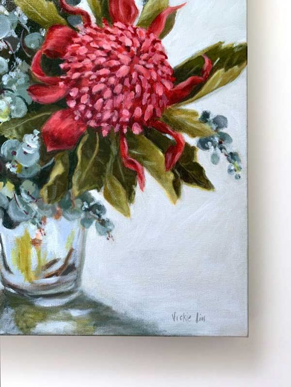 Blue Waratah Original Painting Signature
