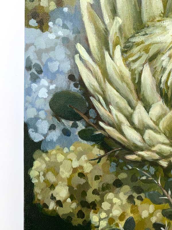 Flannel Flower Proteas Original Painting Detail 1