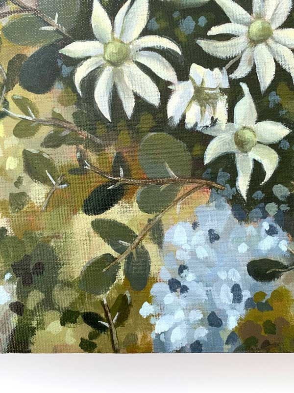 Flannel Flower Proteas Original Painting Detail 2