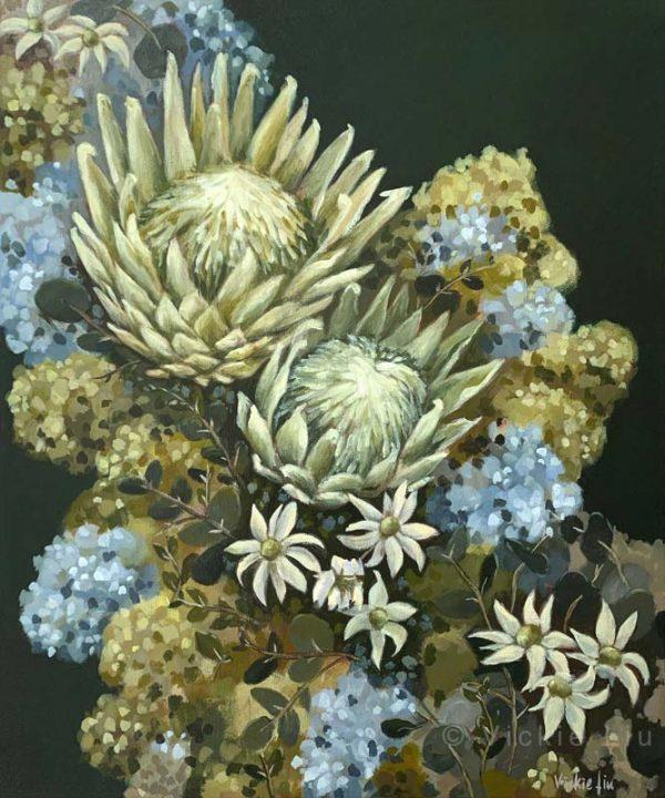 Flannel Flower Proteas Original Painting