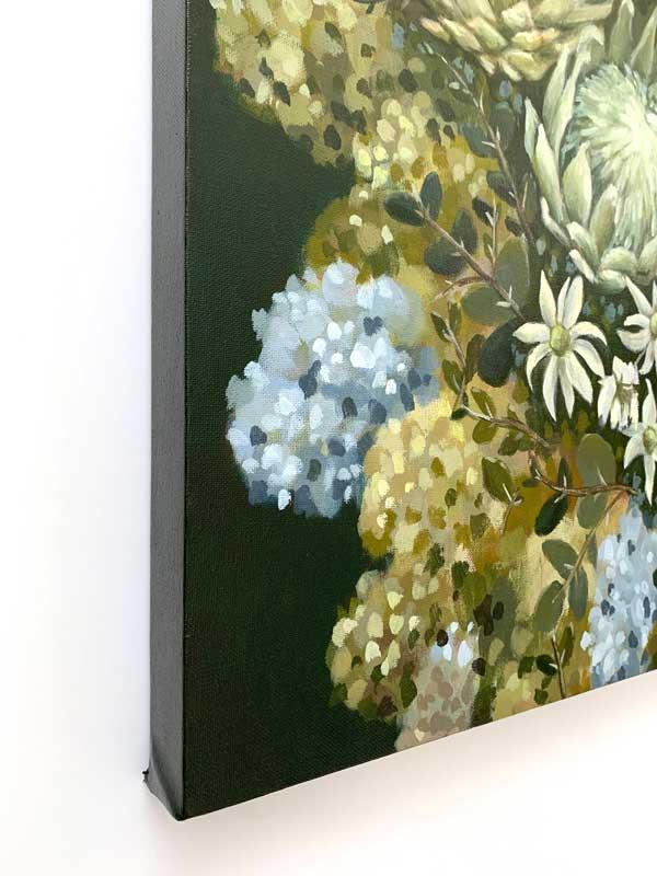 Flannel Flower Proteas Original Painting Left Edge