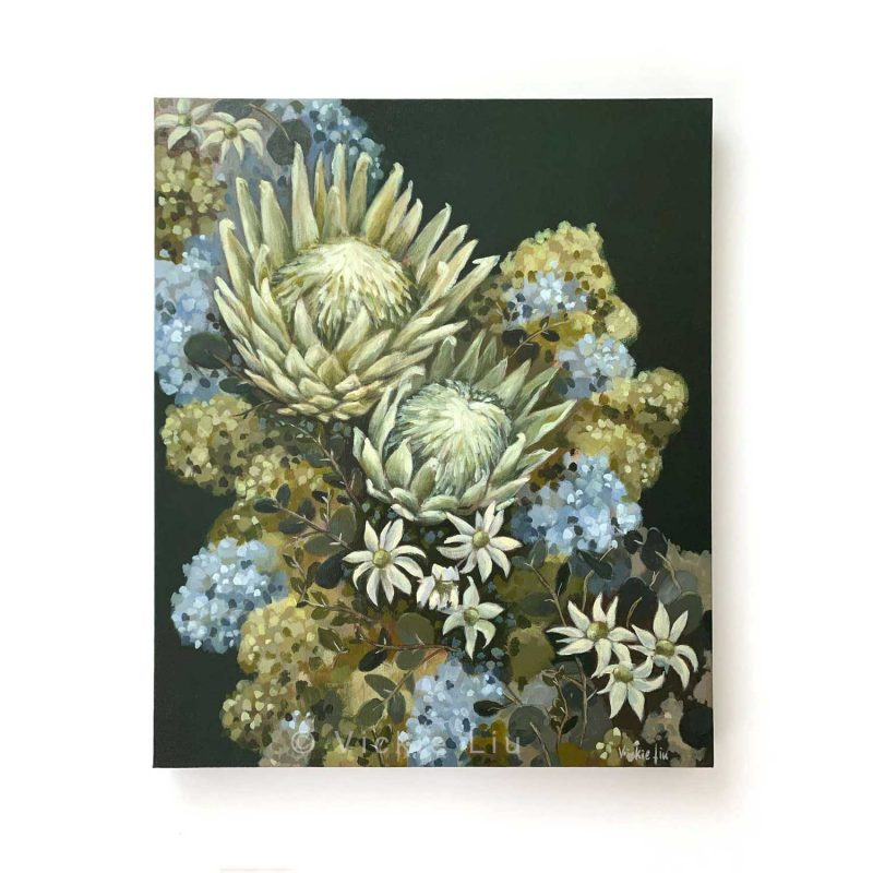 Flannel Flower Proteas Original Canvas Painting