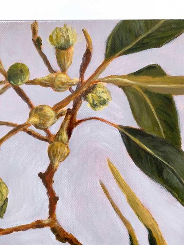 Lush Gum Leaves Original Painting Detail 1