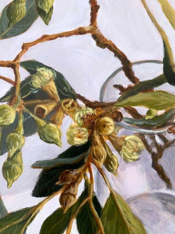 Lush Gum Leaves Original Painting Detail 2