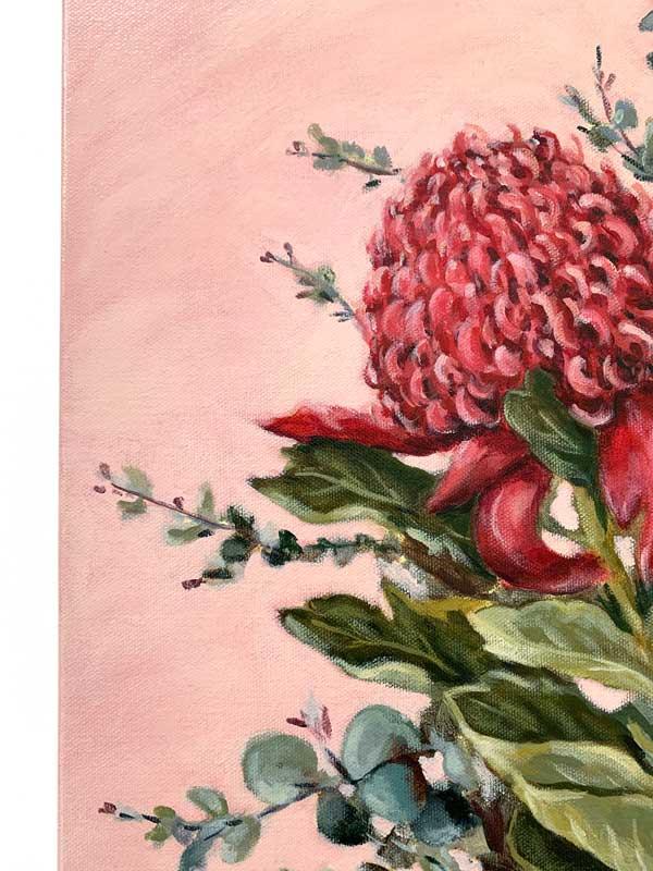 Pink Waratah Original Painting Closeup 1