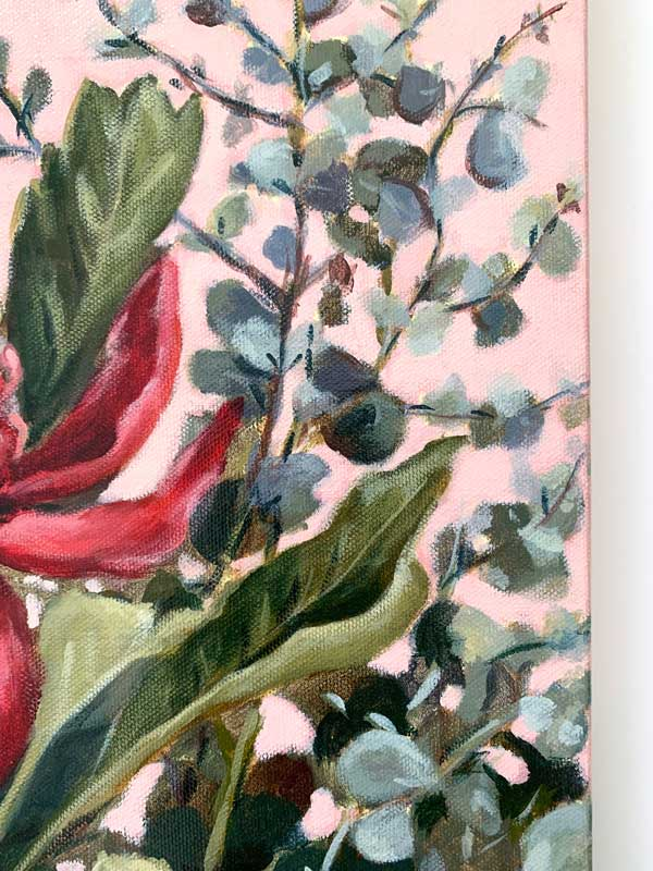 Pink Waratah Original Painting Closeup 2