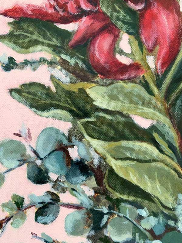 Pink Waratah Original Painting Detail 1