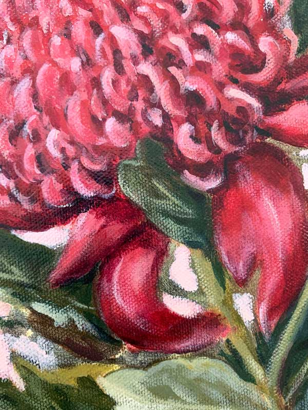 Pink Waratah Original Painting Detail 2