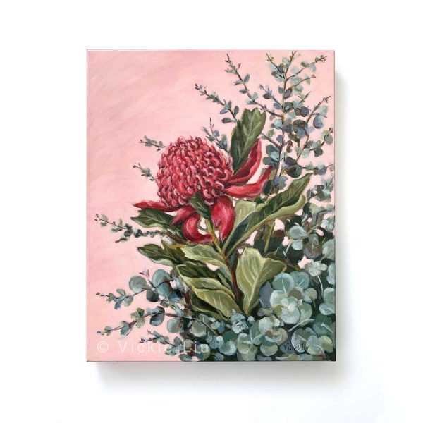 Pink Waratah Original Canvas Painting