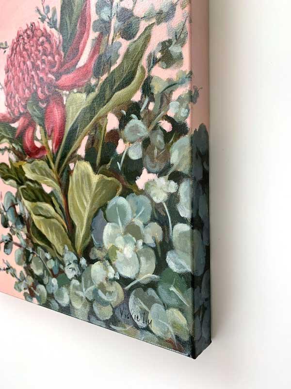 Pink Waratah Original Painting right edge