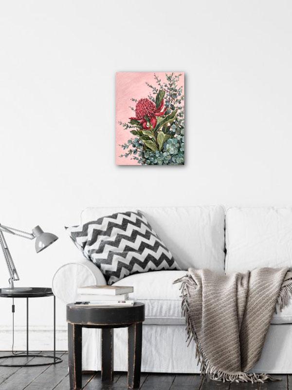 Pink Waratah Original Painting Insitu