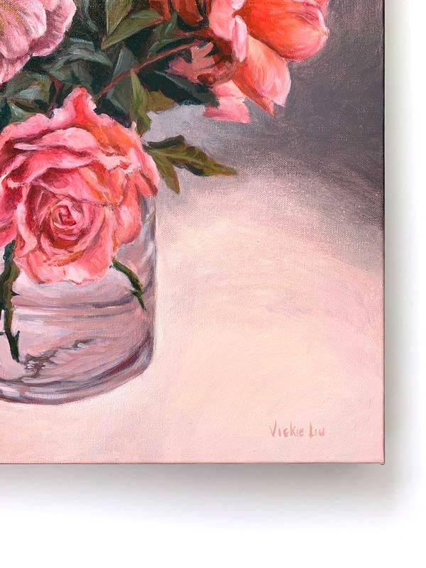 Roses in May Original Painting Signature