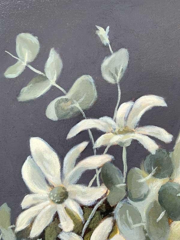 White King Protea Original Painting Detail 1