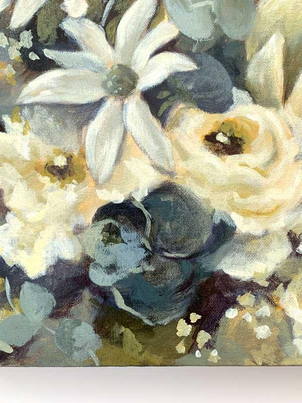 White King Protea Original Painting Detail 2
