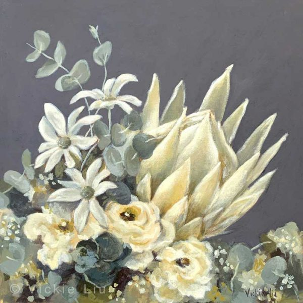 White King Protea Original Canvas Painting