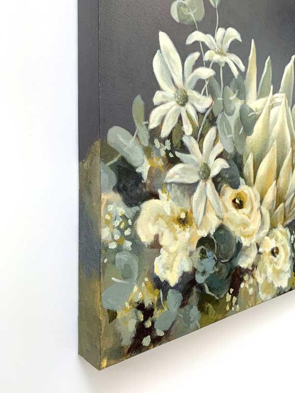 White King Protea Original Painting Left Edge