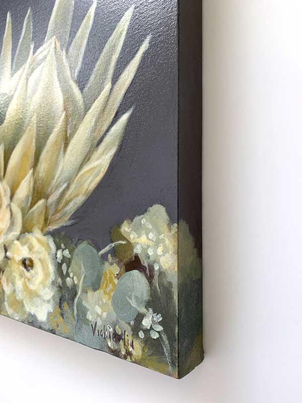 White King Protea Original Painting Right Edge