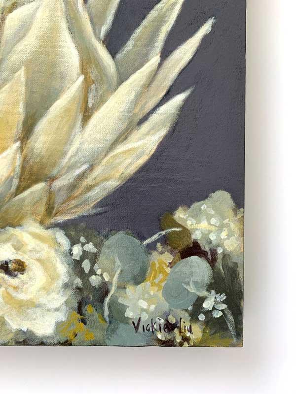 White King Protea Original Painting Signature