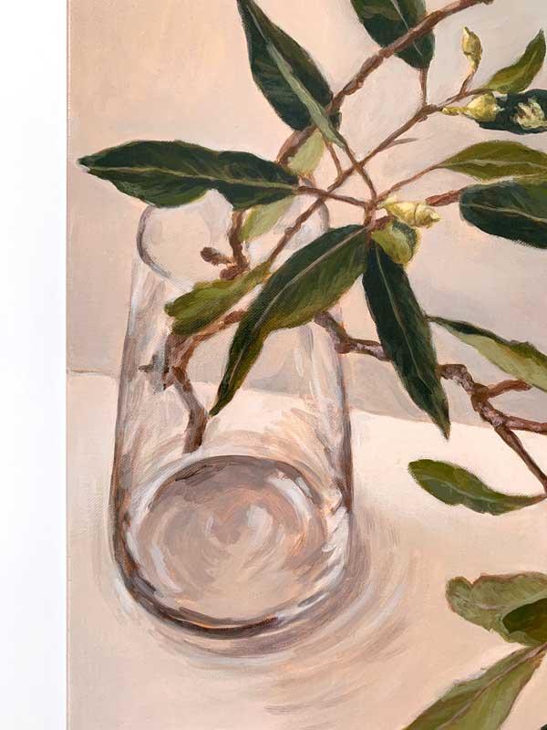 Zen Gum Leaves Original Painting Detail 1