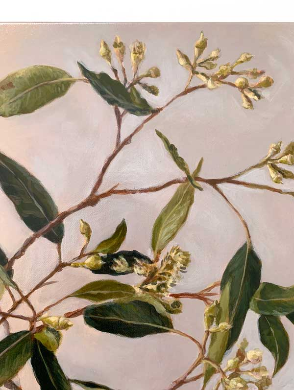Zen Gum Leaves Original Painting Detail 2
