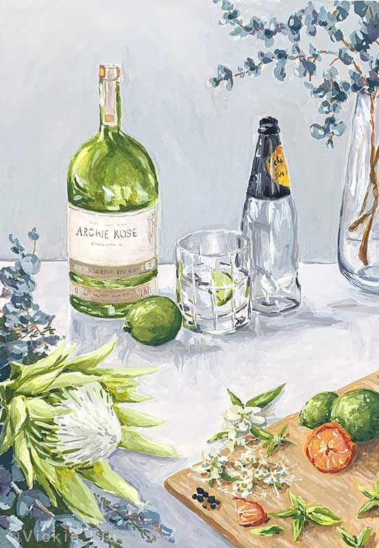 Flowers and Cocktail Still Life Painting Example