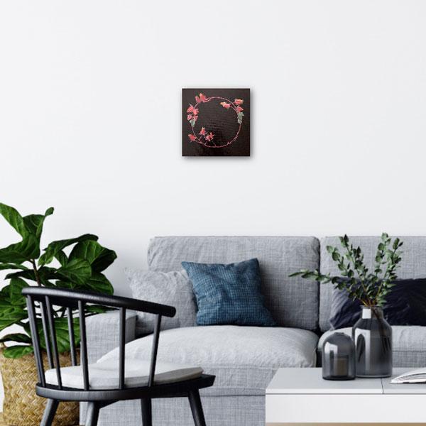 succulent wreath original painting insitu