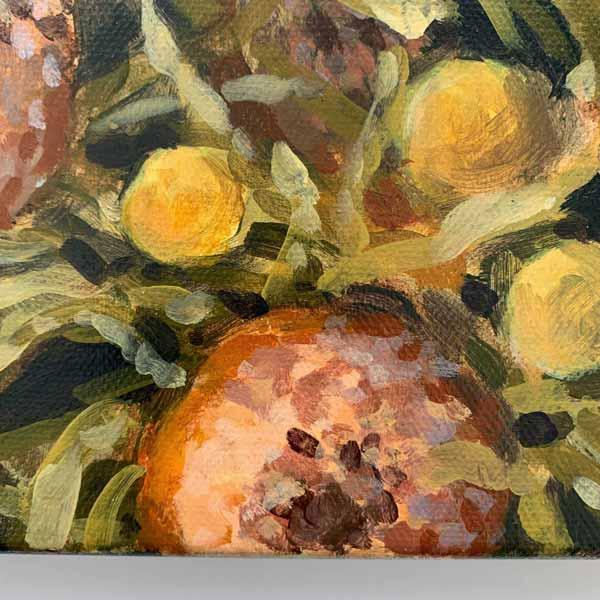 banksia billy button wattle original painting detail