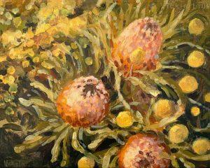 banksia billy button wattle original painting