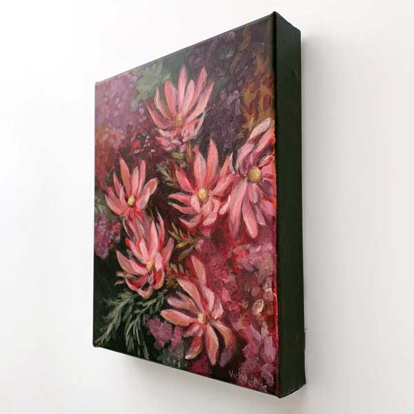 leucadendron flower original painting detail